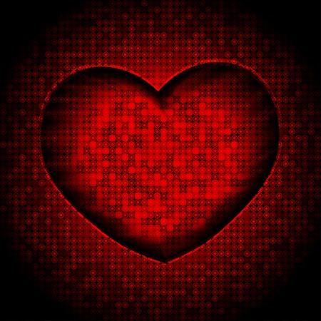 red techno heart background vector illustration. eps 10
