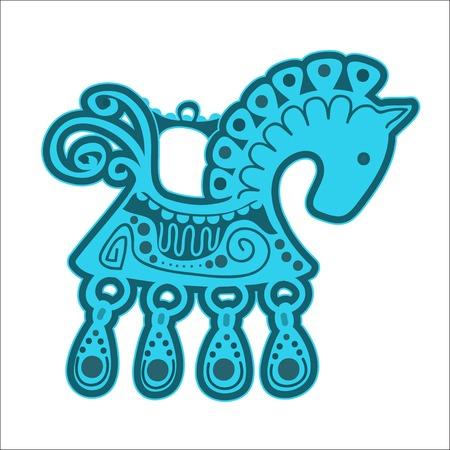 decoration blue horse vintage vector illustration eps 10