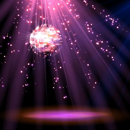 Disco ball magenta background. vector eps 10 Vektorové ilustrace