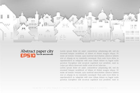 Abstract background with old building 3D Paper, vector Stock Illustratie
