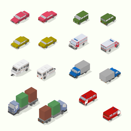 Isometric transport icon set.  Simple flat. Vector Illustration