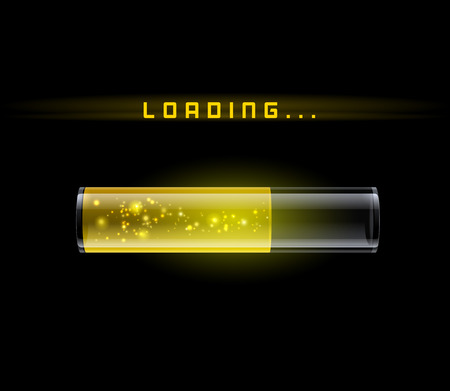 Yellow Loading Bar with shine, vector background