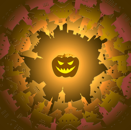 Halloween round town and lantern background, vector