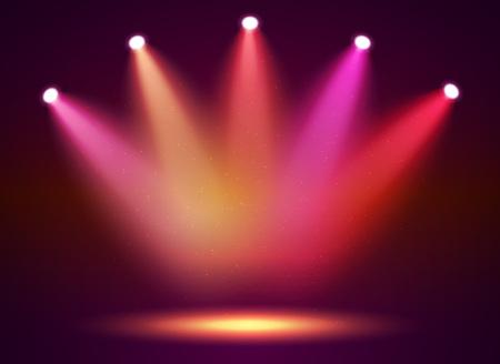 Riflettori sul palco per il tuo design. Luce colorata. Illustrazione vettoriale.