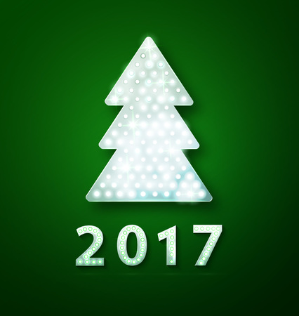 Retro light banner a Christmas tree with 2017 new year symbol. Vector illustration eps 10 Stock Illustratie