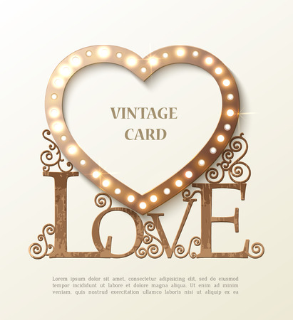 Shine heart with love and shadow, vintage card. Vector Ilustração