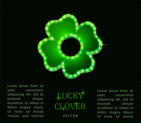 Shine lucky clover with shadow on abstract background for your design, vector Ilustração