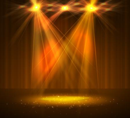 Foco en el escenario con humo y luz. Ilustración vectorial.