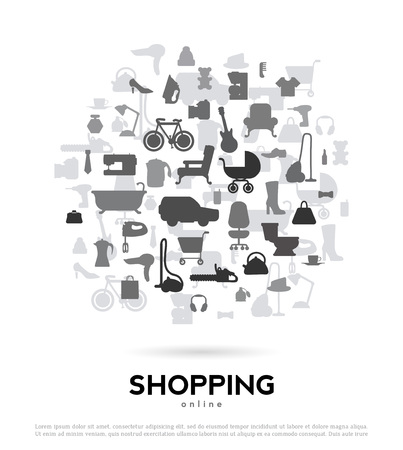 Shopping abstract background for advertising and design. Vector