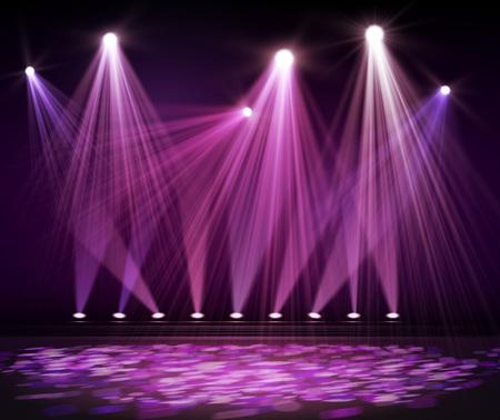 Varias luces del escenario en la oscuridad. Foco en el escenario. Vector Ilustración de vector