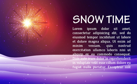 Winter night blue background with sun and snow. vector illustration. Фото со стока - 122807744