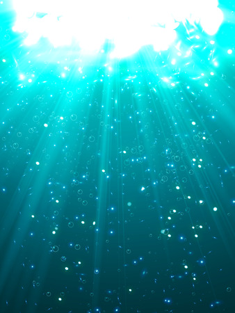 Deep Water Bubbles Blue Color Illuminated By Rays Of Light Vector Illustration Illustration