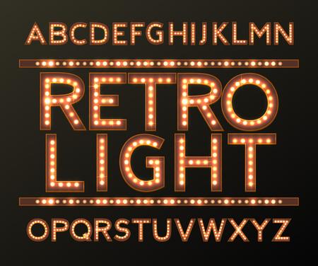 vector golden alphabet with bulb lamps vector
