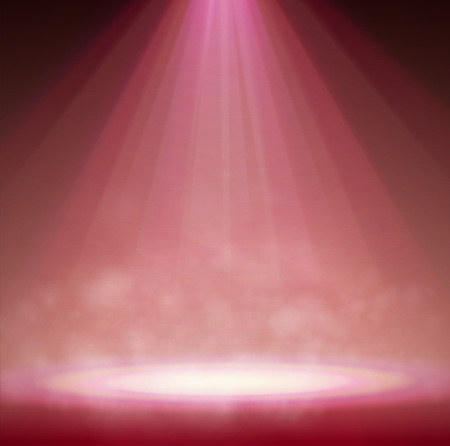 Red One Spotlight on stage with smoke and light. Vector illustration.