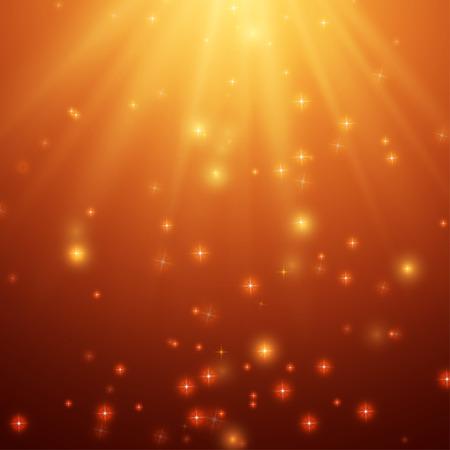 Fondo rojo y naranja con estrellas y rayos, vector