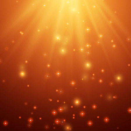 Red and Orange Background With Stars and Rays, vector