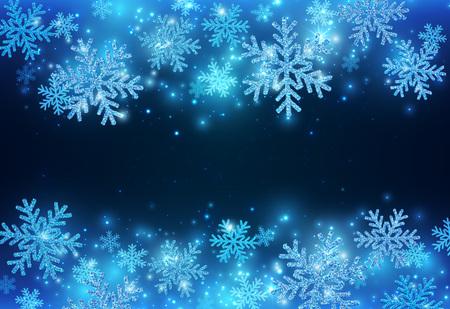 Blauwe Nieuwjaarsbanner Met Fonkelende Sneeuwvlokken. Kerstmis schoonheid achtergrond. Vectoreps 10