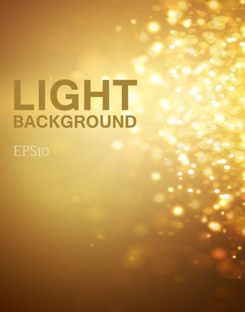 Lights on yellow background bokeh effect. Vector EPS 10
