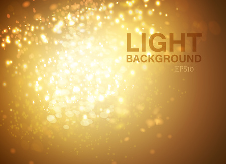 Magic Yellow Lights With Bokeh Effect. Vector EPS 10 Illustration