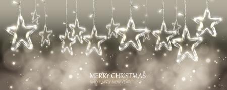 Beautiful Christmas Bokeh Background with Lighten Stars, vector