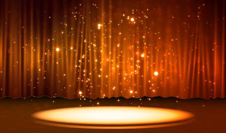 Cortina con escena. Efecto de luz suave para un telón de fondo perfecto ilustración vectorial eps 10