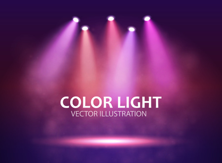 Five different Spotlight on stage for your design. Colorful light.