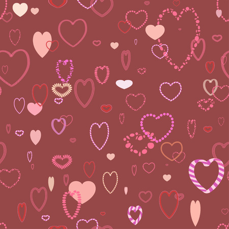 Romance pattern with different hearts, repeating tile