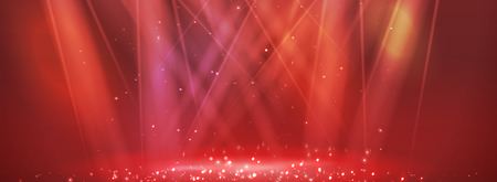 Red lights. Blur rays with spotlights for magic shiny background. Vector.