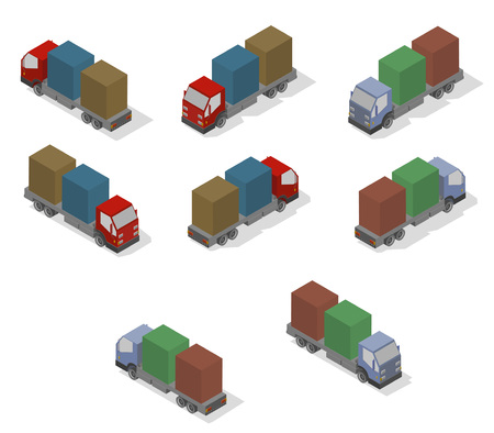 Isometric transport icon set. Simple flat to right, left, forward, backward. Illustration