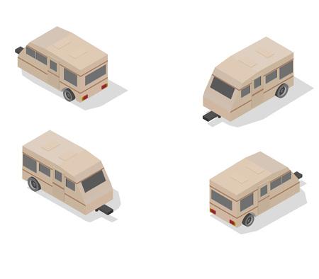 Isometric transport icon set. trailer Simple flat to right, left, forward, backward.