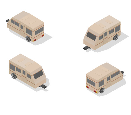 Isometric transport icon set. trailer Simple flat to right, left, forward, backward.