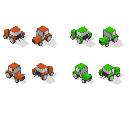 Isometric transport icon set. tractor Simple flat to right, left, forward, backward.