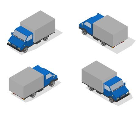Isometric transport icon set. Simple flat to right, left, forward, backward.