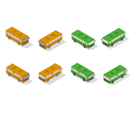 Isometric bus transport icon set. Simple flat to right, left, forward, backward.