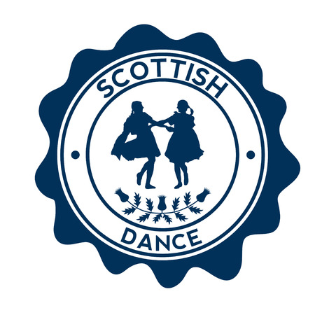 Scottish dancers. Silhouette on the beautyful stamp.