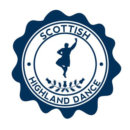 Scottish dancer. Silhouette on the beautyful stamp. Ilustrace