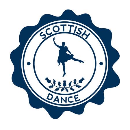 Scottish dancer. Silhouette on the beautyful stamp. Vector 矢量图像