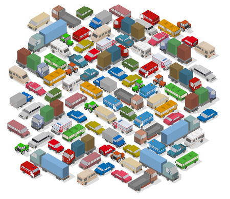 Isometric cars. Background for illustration traffic jam, city problem and your design. Vector.