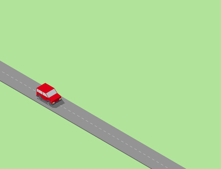 Isometric Car on the long road. Lonely and free. Vector