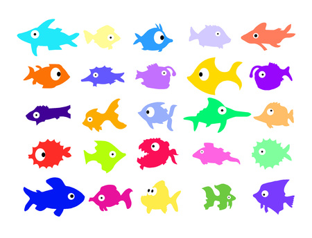 Set of different color cartoon fishes on white background. Vector. Ilustrace
