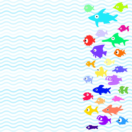 Pattern with different color cartoon fishes on white background. Vector.