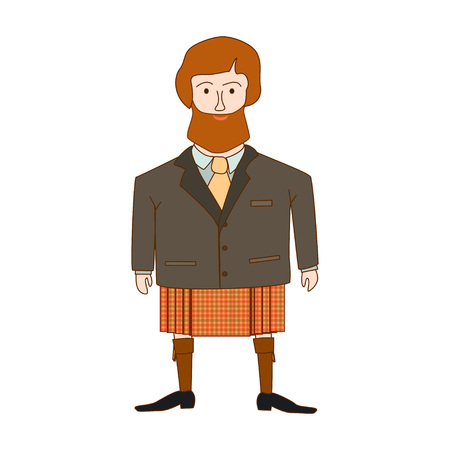 Highlander. Cute scotsman in national clothes. Vector.