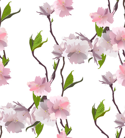 Fresh beauty spring flowers seamless pattern. Vector.