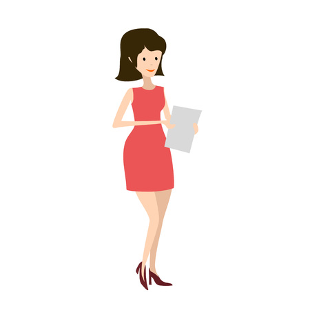 Cartoon woman. Beauty illustration simple style. Vector
