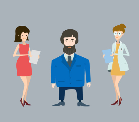 Two woman and boss man simple cute illustration. Vector. Ilustrace