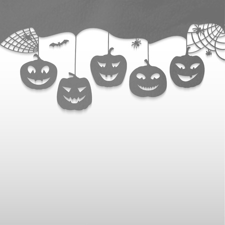 Halloween design pumpkins. Black and white horror background for holiday text. Vector