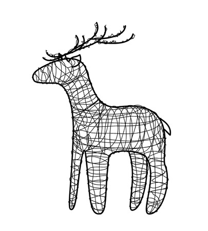 Isolated black wire deer on white background. Vector.