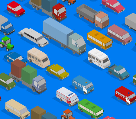 Traffic Jam. Isometric Cars and Houses for Illustration Seamless Pattern. Vector