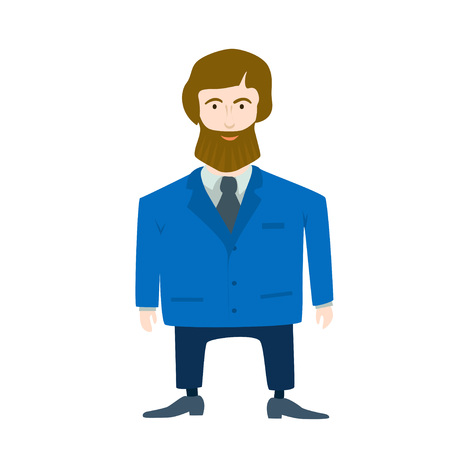 Boss in blue clothes. Cute simple style. Vector.