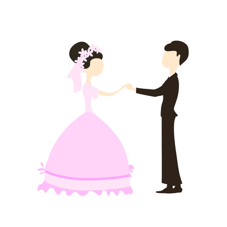 Romantic couple. Cute simple illustration for invitation, greeting card and concept banner. Vector.